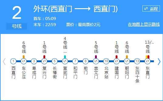 北京地铁2号线时间表-北京地铁2号线首发时间,时间间隔