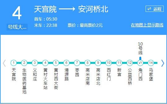 北京地铁4号线时间表-北京地铁4号线首发时间,时间间隔